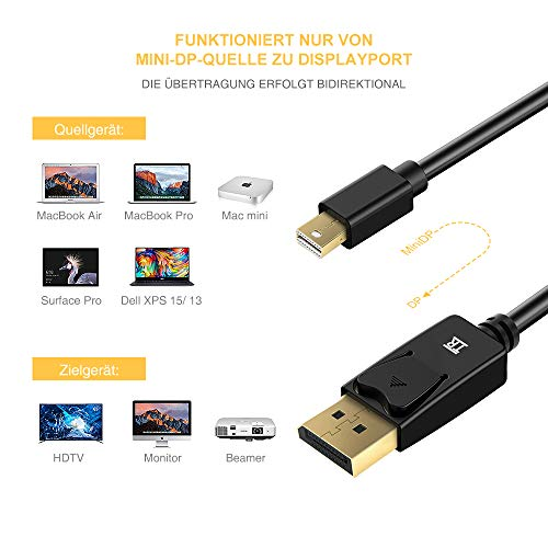 TechRise Mini DisplayPort auf DisplayPort Kabel 2m Vergoldet Mini DP auf DP Kabel Konverter Adapter V1.2 2K / 4K Resolution Unterstützte