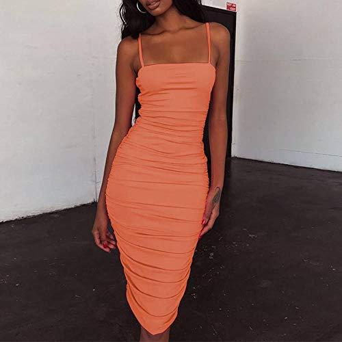 NSDKFF Kleid Damen,Sommer Spaghettiträger Geraffte Trägerlosen Knielange Figurbetontes Kleid Sexy-Kleid Ärmellos Orange Rosa Minikleid Charmante Hips-Wrapped Neckholder-Kleid, XL