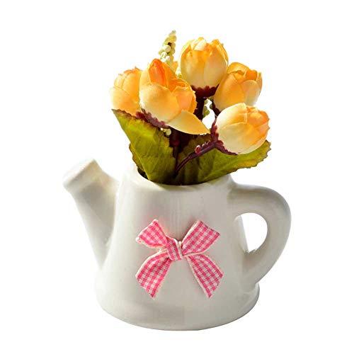 LQZ Mini Artificial Flower Plant with Pot Home Decor Bonsai