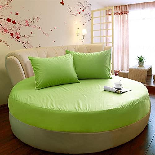 CYYyang Funda de colchón Anti chinches, Transpirable, Funda de Cama Redonda de una Pieza de algodón Puro-Verde_1,8m