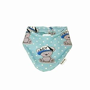 Baby Halstuch Dreieckstuch Boy Teddy blau handmade Puschel-Design