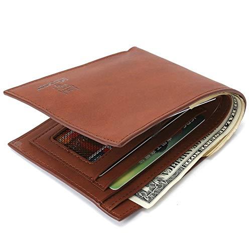 Amody Herren brieftasche PU Leder netto portemonnaie Bifold geldbörse Leichter Kaffee Brieftasche