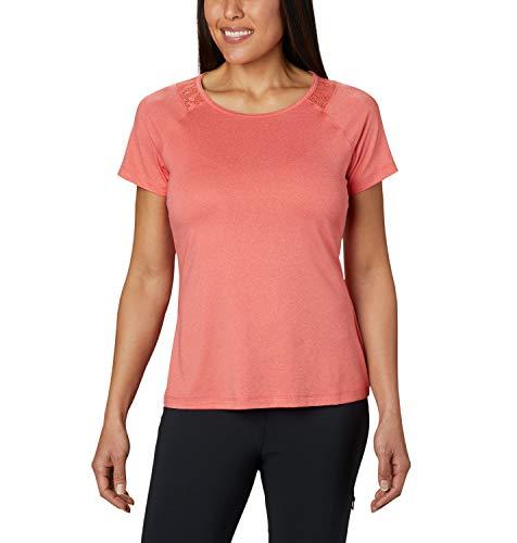 Columbia Peak To Point II Camiseta Térmica de Manga Corta, Mujer, Naranja (Bright Poppy Heather), XL