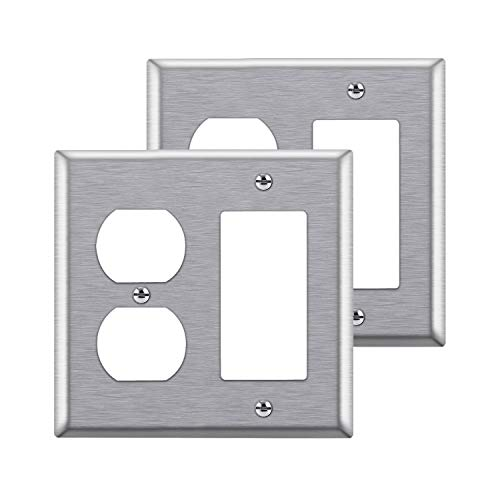 [2 Pack] BESTTEN 2-Gang Combination Metal Wall Plate, 1-Duplex/1-Decor, Anti-Corrosion Stainless Steel Outlet and Switch Cover, Industrial Grade Stainless Steel, Standard Size, Brushed Finish, Silver