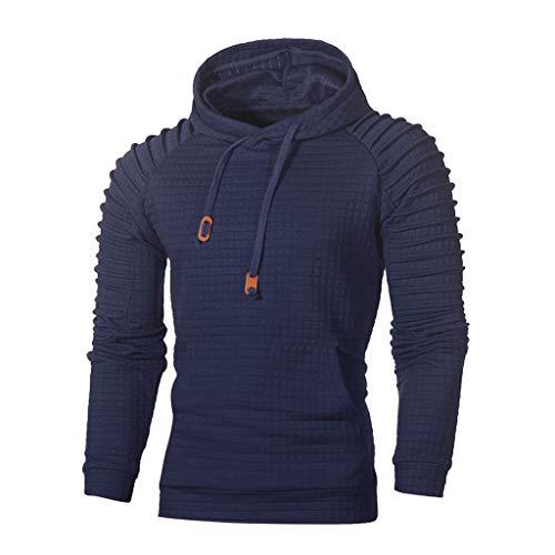 VECDY Herren Bluse,Räumungsverkauf-Men's Autumn Long Sleeve Plaid Hoodie Hooded Sweatshirt Top Tee Outwear Blouse Lässige, hübsche Kapuzenpullover (54, Blau)