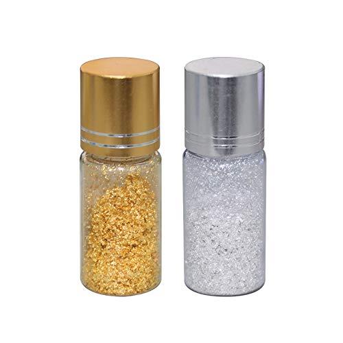VGSEBA - Copos de oro comestibles auténticos para decoración de tartas, postres de chocolate, salud y spa, 2x25 mg