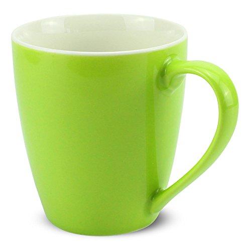 matches21 Tasse Becher Kaffeetassen Kaffeebecher Unifarben/einfarbig kiwi-grün hellgrün Porzellan 6 Stk. 10 cm / 350 ml