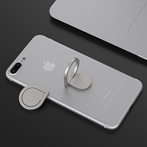 360° drehbarer Smartphone Fingerhalter (Silber) - 4