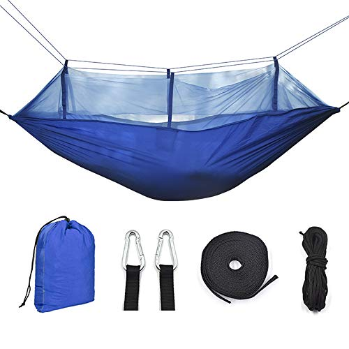 Mitening Hammock with Mosquito Net Ultra-Light Travel Camping Hammock 290 x 140 cm for 2 Person with Breathable Nylon Quick-Drying Parachute Portable Hammock for Hiking Backpacking Beach Adventure