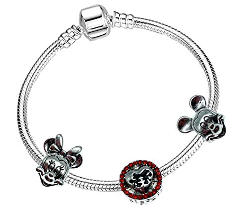 Mickey and Minnie Mouse Silver Plated Charm Bracelet for Girls with Gift Box (18cm (Teens/Young adult))
