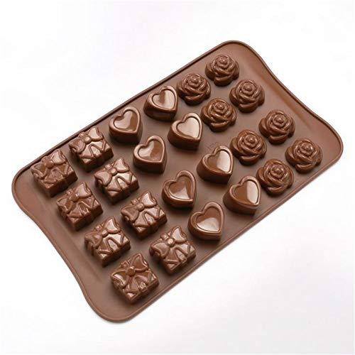 Molde de silicona con forma de corazón para el Día de San Valentín, molde de silicona para hornear el Día de San Valentín, chocolate en forma de corazón, molde especial para hornear pasteles (marrón)