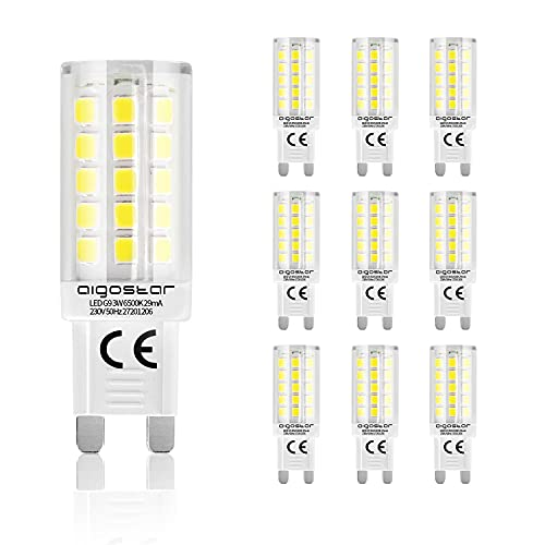 Aigostar - Pack 10 Bombillas LED G9, 3W (Equivalente 32W) Luz Blanca 6500K, 350lm, ángulo de haz 360. Medidas 16,5 x 50mm. No regulables.