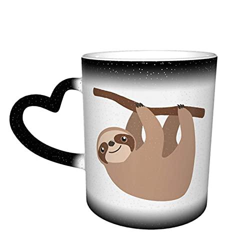 Oaieltj Taza cambiante de calor, lindo perezoso colgante personalizado taza de café sensible al calor taza taza de té de leche tazas de café magia tazas de corte