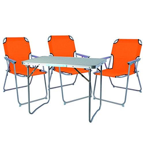 4Piezas. Juego de Muebles de Camping (Aluminio Camping L70x B50X H59cm 1x Mesa de Camping con asa + 3Silla de Camping Naranja Plástico oxfort