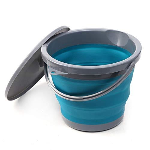 SENFEISM Cubo plegable de silicona, cubo de pesca al aire libre Cubo plegable con cubierta plegable portátil Car Wash Pesca Promoción Baño Cocina Silicona