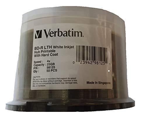 BD-R 25GB VERBATIM LTH 4X, White Inkjet Hub Printable - Cakebox 50 Stück