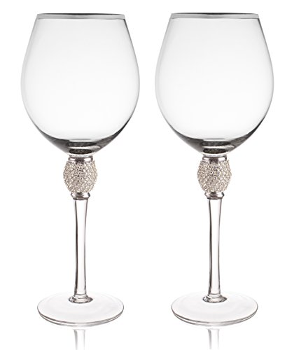 Trinkware Set of 2 Wine Glasses - Rhinestone'DIAMOND' Studded With Silver Rim - Long Stem, 16oz, 10-inches Tall – Elegant Glassware And Stemware