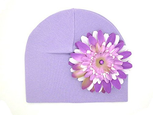 Jamie Rae Hats - Lavender Cotton Hat with Lavender & White Daisy, Size: 4Y-6Y