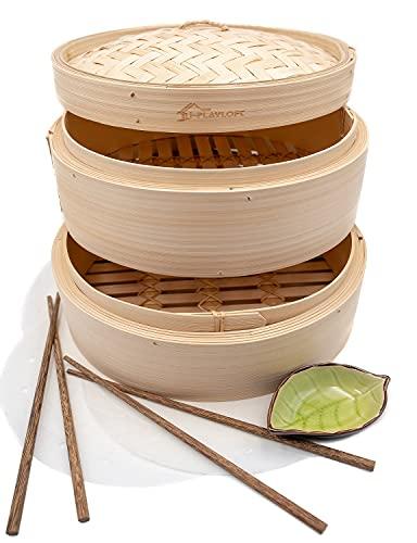 Premium 10 Inch Handmade Bamboo Steamer - Two Tier EXTRA DEPTH Baskets - Dim Sum Dumpling & Bao Bun...