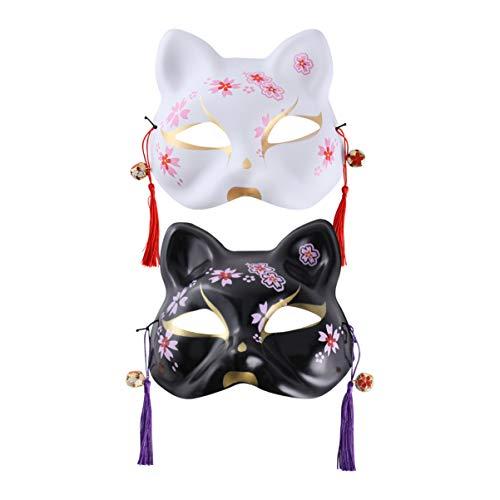 PRETYZOOM 2 Piezas de Halloween Máscaras Pintadas a Mano Media Máscara de Animal Máscara de Zorro Japonés Horror Cosplay Cubierta de La Cara Decoración de La Casa Embrujada para La Fiesta