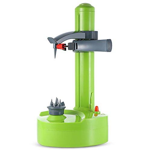 Cikuso Pelador Electrico Multifuncional para Frutas Y Verduras Pelador De Manza Automatico De Acero Inoxidable Maquina Cortador De Patata De Cocina Verde