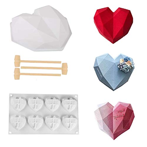 3D Diamante Corazón Forma Silicona Molde,DIY Heart Chocolate Postre Hornear Molde,Molde de silicona con forma de corazón de diamante,Moldes de silicona para chocolate con letras y números (2)