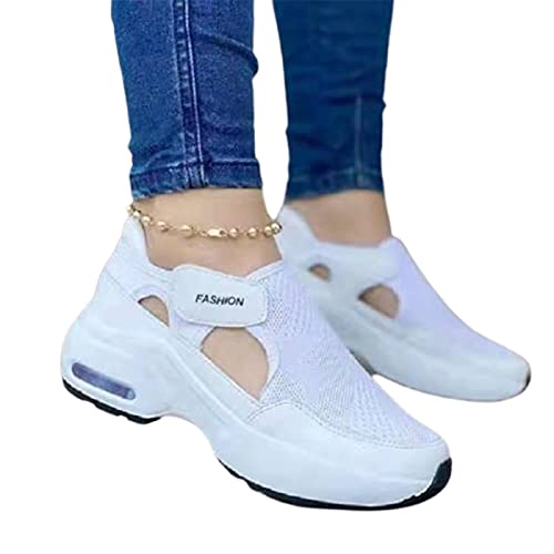 Bartholomew Zapatillas de deporte ortopédicas con suela acolchada de aire para mujer, para caminar, casual, ajustable, transpirable, para caminar, fitness, casual, enfermería, ortopédico, lige