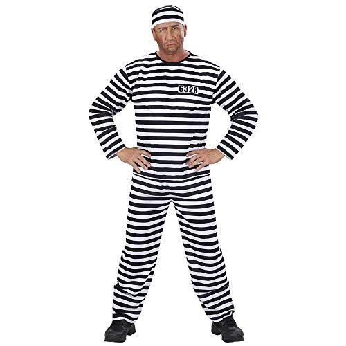 Widmann 39093 – Kostüm, Häftling, Oberteil, Hose, Mütze, Schwarz-Weiß gestreift, Gefangener, Sträflingskostüm, Knasti, verschiedene Größe, Motto Party, Karneval