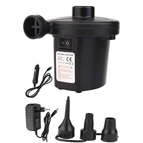 Vegena Elektrische Luftpumpe, 2 in 1EU Stecker Auto Elektropumpe mit 3 Aufsätze für Home Camping Luftmatratzen, Planschbecken, Schlauchboote Aufblähungen und Deflates AC 220V-240V/12V (#01)