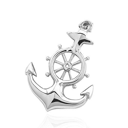 Anhänger Anker Steuerrad Ruder Anchor Halskette Lederkette Kugelkette Herren Damen Silber-nur-anhänger