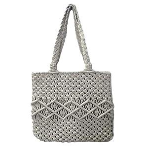 Vファッションウィメンズデザインマクラメショルダー/トートバッグホワイト(V Fashion Women's Designs Macrame Shoulder/Tote Bag White)