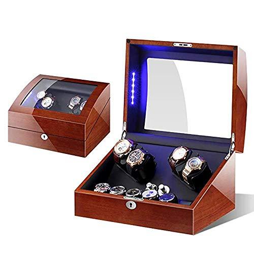 SCJ Bobinadoras de Relojes Quad Automatic Watch Winders - Motores silenciosos y con luz LED para Cajas de Almacenamiento de exhibición de 4 + 6 Relojes-B
