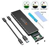 ELUTENG Boîtier SSD M.2 SATA vers USB C Gen1 USB 3.1 UASP 6Gbps Boîtier Externe Disque Dur M2 NGFF to USBC Adaptateur B et B + M Key Adapter Case pour 2280 2260 2242 2230 avec Câble Type -C & Type A