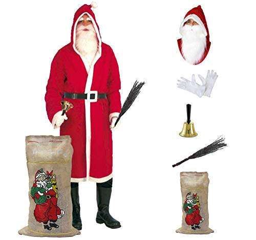 Krause & Sohn Nikolaus-Set Weihnachtsmann Kostüm 6 TLG. Mantel Bart Glocke Rute Jutesack HSch.