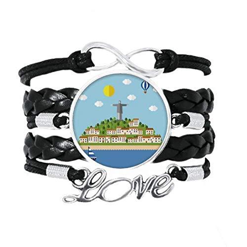 DIYthinker Mount Corcovado Feuerballon-Armband, brasilianisches Armband, Liebeszubehör, gedrehtes Leder, Strickseil, Geschenk