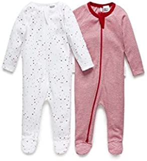 Purebaby 2 Pack Zip Growsuit, Red Star And Red Stripe Pack