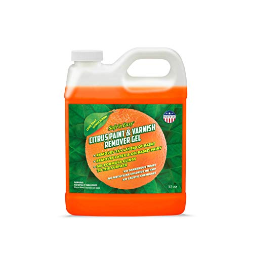 Safe 'n Easy Citrus Paint & Varnish Remover Gel, Strips 15+ Layers of Paint Safely, No Hazardous Fumes, Non-Toxic, Citrus Orange Scent (32 oz)