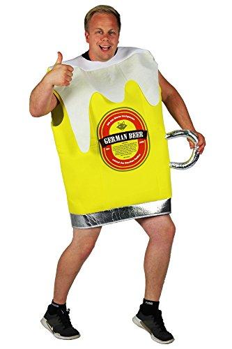 Foxxeo gelbes Bierglas Kostüm für Männer Junggesellenabschied Bier Glas Pils Größe XXL