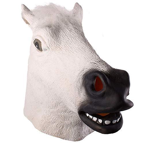 YMSWTF Caballo mscara de Halloween mscara de ltex Cabeza de Caballo Espeluznante Disfraz de Animal Teatro Partido Loco Broma decoracin de Halloween ( Color : White )