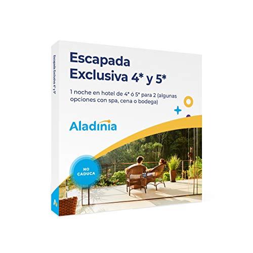 ALADINIA Escapada Exclusiva 4* y 5*. Pack de Viajes para Regalar. Caja Regalo de escapadas románticas para Dos en hoteles de 4 y 5*. No caduca, Cambios de experiencias Gratis e ilimitados