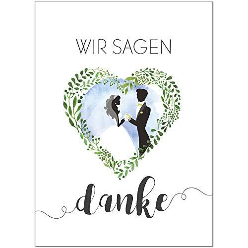 15 x Hochzeits-Dankeskarten - Brautpaar im Blumen Herz - Danksagungskarten für Ehepaare um Danke zu sagen nach Hochzeit, Polterabend oder Hochzeitsfeier