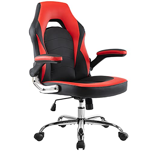 Office Chair, Ergonomic Gaming Chair Desk Chair Computer Chair PU Leather Executive Swivel Chair with Flip-up Armrests and Lumbar Support for Office, Gaming and Home, Red