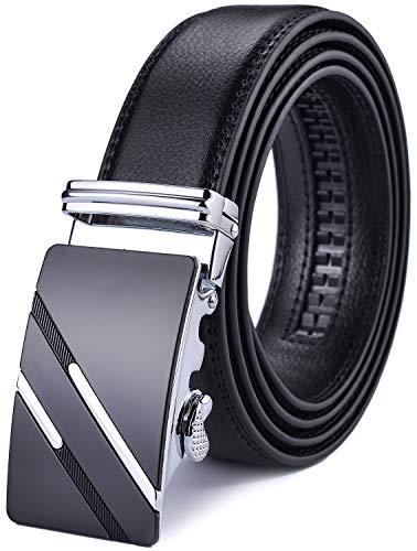 X XHtang Gürtel Herren Automatik Gürtel mit Automatikschließe-3,5cm Breite, Schwarz3, Länge 115cm Geeignet für 30-36 taille