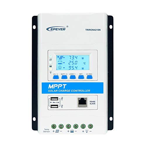 EPEVER MPPT Charge Controller 40A 12V/24V Auto Solar Charge Regulator Max PV 150V Solar Panel 520W/12V;1040W/24V Charging for Sealed, AGM, Gel, Flooded and Lithium Battery (40A,Triron4215N)