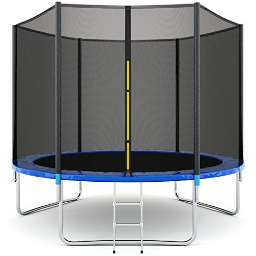 Giantex Trampoline Jump Bounce Combo Round Trampoline with Safety Enclosure, Spring Pad and Ladder (10 FT)