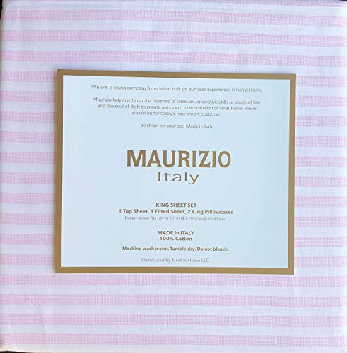 Maurizio Italy 4pc King Sheet Set 100% Cotton Dotted Pink Stripes on White