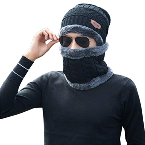 Bufanda a prueba de viento Sombrero de invierno Gorro de lana Sombrero con capucha Bufanda Earflap Knit Cap (negro)