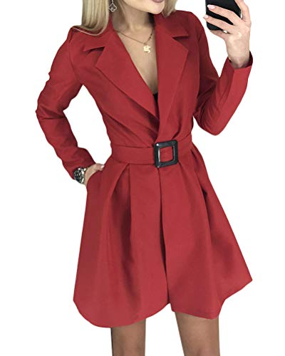 Minetom Mujer Blazer Chaqueta del Traje Elegante Manga Larga Mini Vestido Cuello en V Oficina Negocios Abrigo Fiesta Dress con Cinturón B Rojo 34