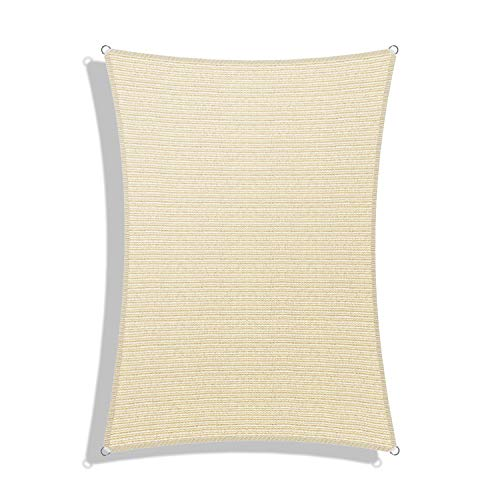 Windscreen4less Sun Shade Sail for Outdoor Patio Backyard UV Block Awning with Steel D-Rings 12ft x 16ft Beige Sand Rectangle - Custom