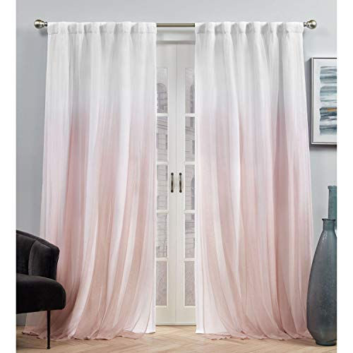 Exclusive Home Curtains Crescendo Lined Blackout Hidden Tab Top Curtain Panel Pair, 54x84, Blush
